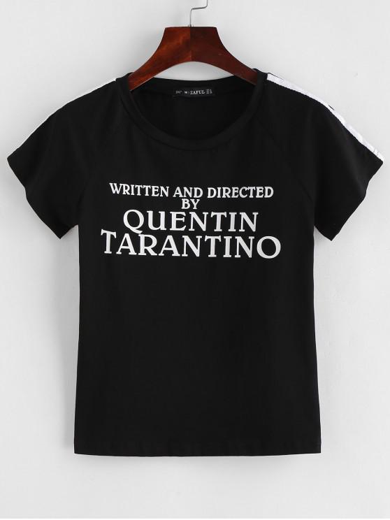 Camiseta estampada parcheada a rayas con estampado de letras - Negro S
