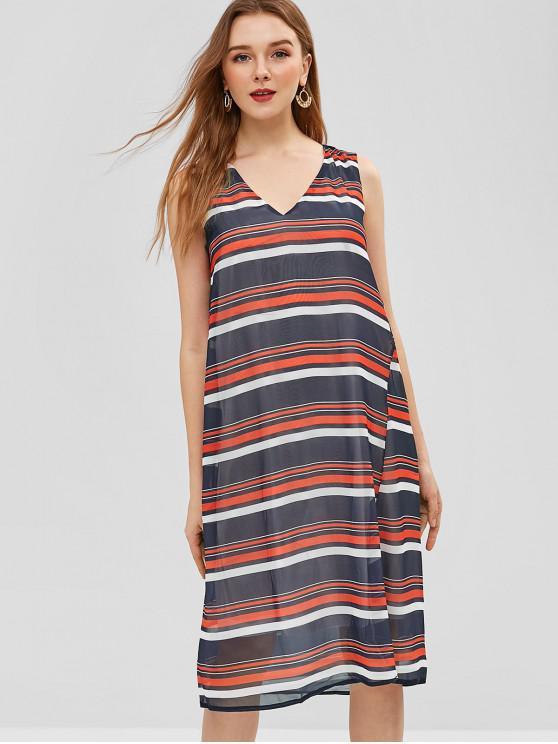 women V Neck Sleeveless Stripes Dress - MIDNIGHT BLUE S
