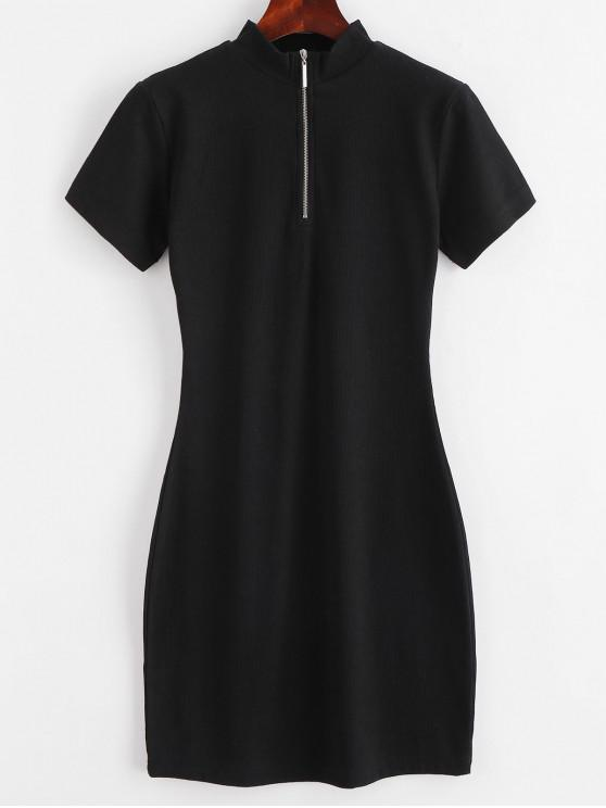 ZAFUL - Geripptes, figurbetontes Kleid mit halbem Reißverschluss - Schwarz M