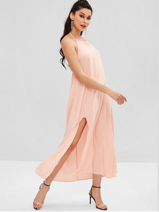 outfits Halter Slit Open Back Maxi Dress - DEEP PEACH S