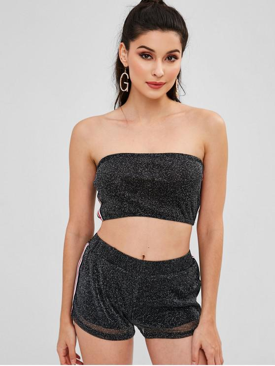 outfits Glittering Bandeau Top Shorts Matching Two Piece Set - BLACK L