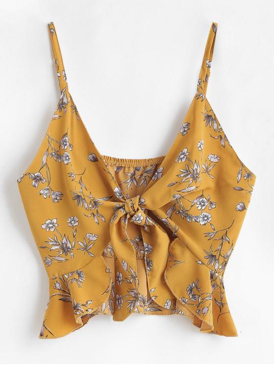 Cami-Oberteil mit Blumendruck-Krawatte vorne - Biene Gelb L