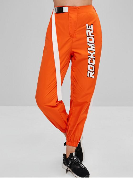 Geschnallte Graphic Neon Windbreaker Pants - Kürbis Orange L