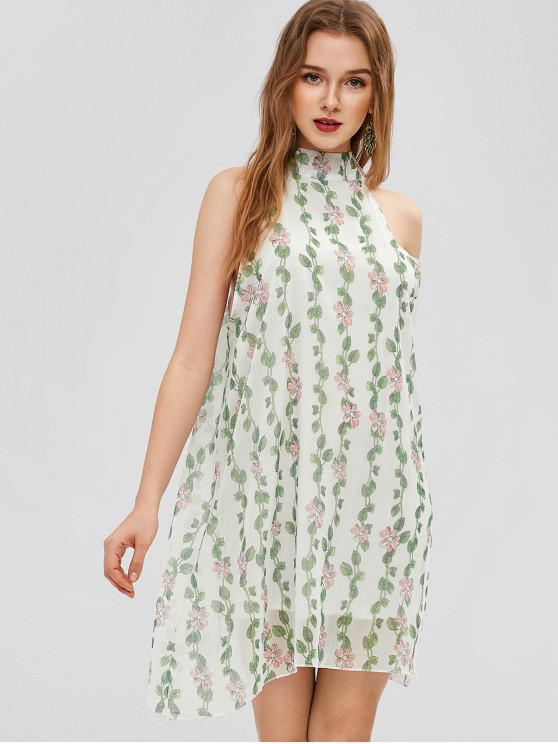 trendy Floral Sleeveless Swing Dress - MILK WHITE S