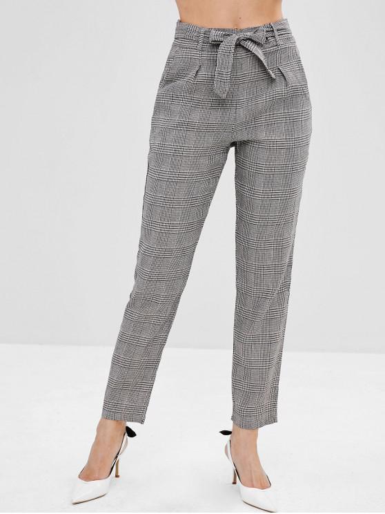 fashion Plaid High Waisted Tapered Pants - MULTI L