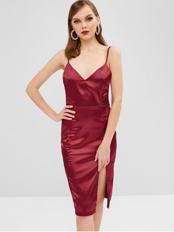 outfits Cami Satin Bodycon Night Out Dress - RED WINE XL