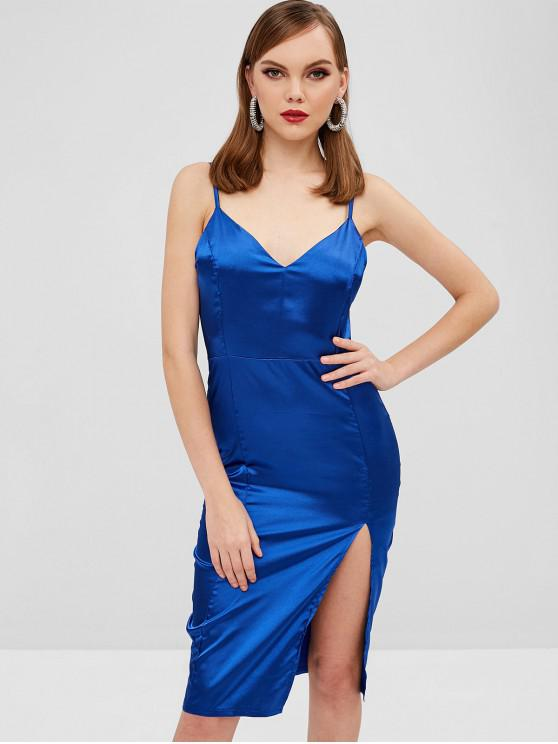 Vestido Cami Satin Bodycon Night Out - Azul Escuro L
