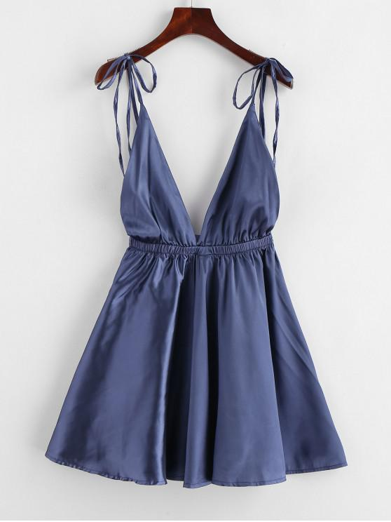fancy Backless Satin Tie Shoulder Pajama Dress - DEEP BLUE S