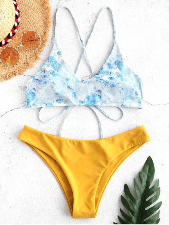fancy ZAFUL Printed Tassels Criss Cross Bikini Set - BEE YELLOW L
