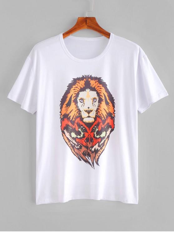 latest Lion Print T-shirt - MILK WHITE XS