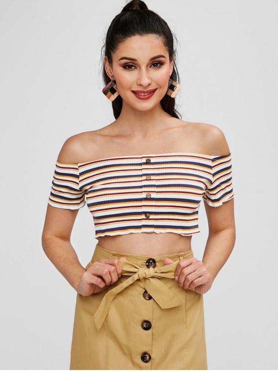 shop Buttoned Off Shoulder Stripes Top - MULTI M