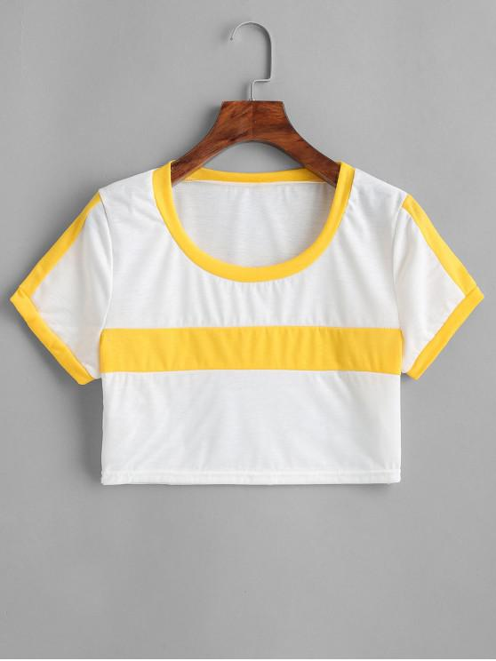 ladies Paneled Two Tone Cropped Tee - WHITE XL