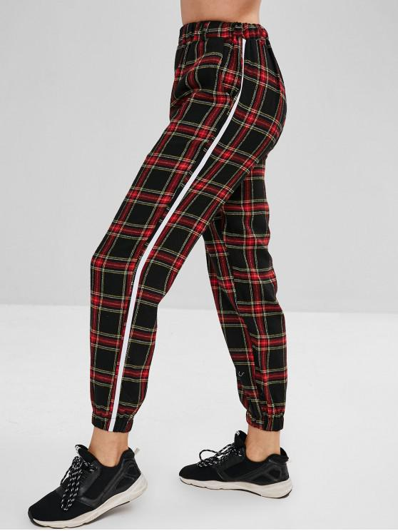 sale Checkered High Waisted Joggers Pants - MULTI S