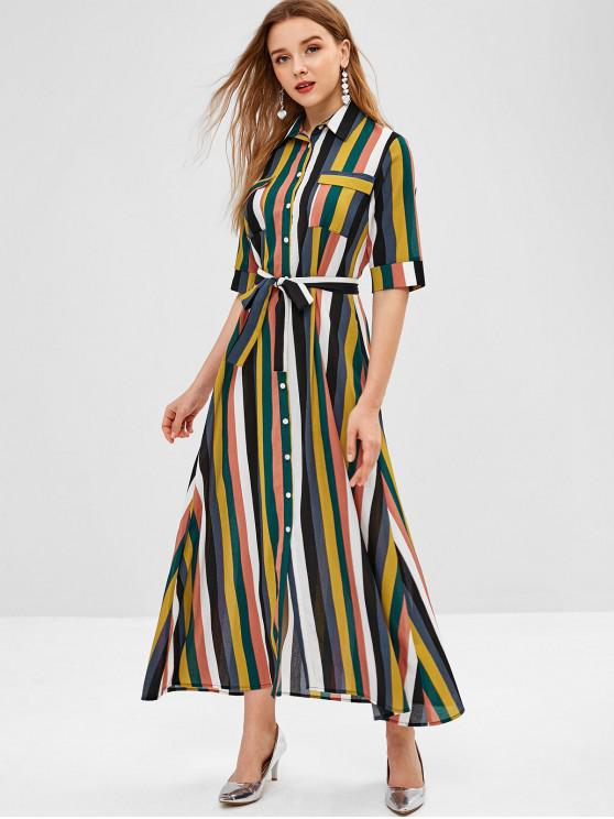 b22dc30bf8c2 33% OFF] 2019 Rainbow Striped Maxi Shirt Dress In MULTI-A | ZAFUL ...