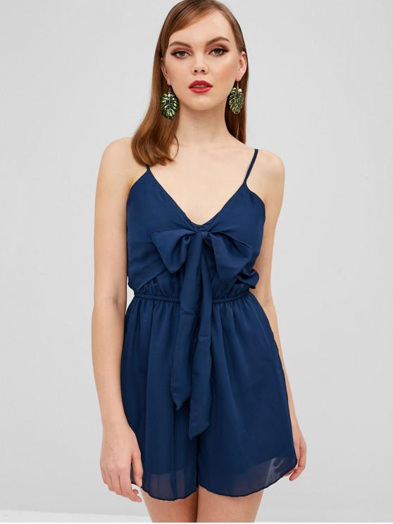 chic Cami Tie Front Romper - MIDNIGHT BLUE XL