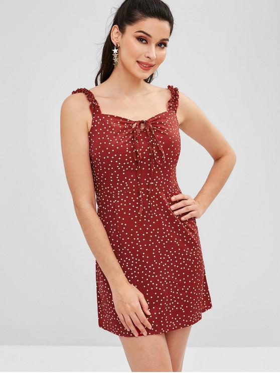 ladies Dots Ruffled Mini Dress - RED WINE S