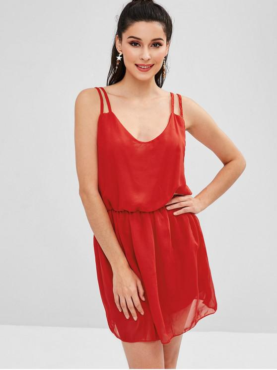 lady Strappy Cami A Line Dress - LAVA RED L
