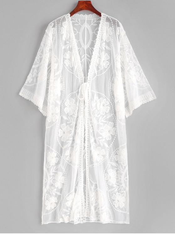 Tie Front Lace Longline Cover Up - Weiß Eine Größe