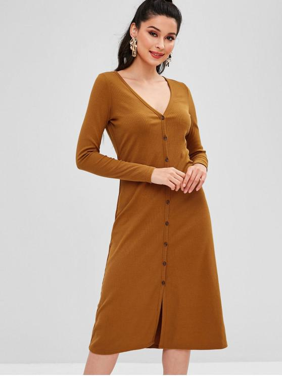 hot ZAFUL Ribbed Button Up Casual Dress - LIGHT BROWN M
