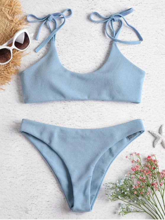 lady ZAFUL Tie Shoulders Ribbed Bikini - JEANS BLUE M