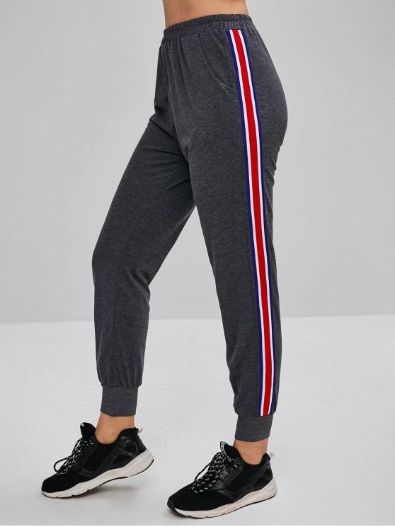 Pantaloni jogging pantaloni tasche laterali - Grigio L