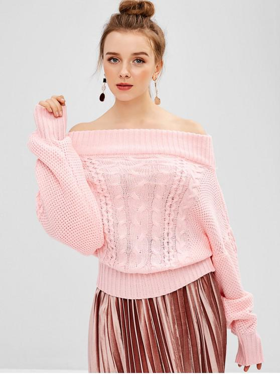 outfit Off Shoulder Cable Knit Dolman Sweater - PIG PINK ONE SIZE