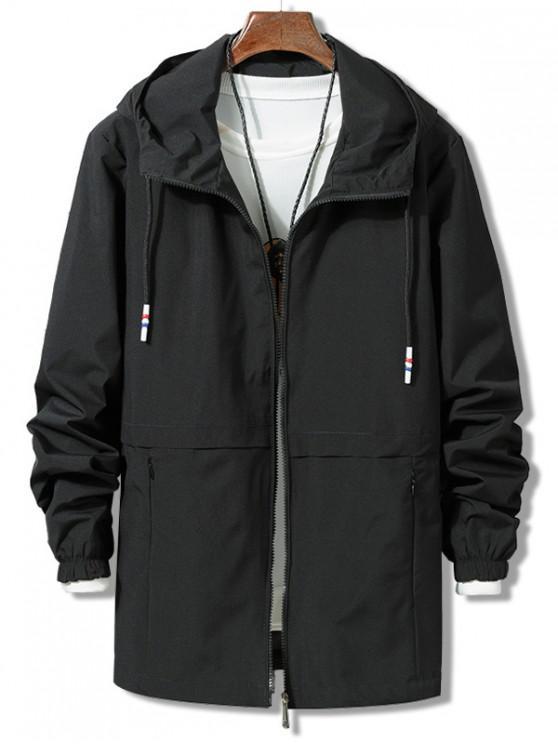 fashion Solid Zipper Windbreaker Jacket - BLACK XL