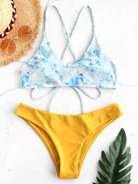 fashion ZAFUL Printed Tassels Criss Cross Bikini Set - BEE YELLOW S