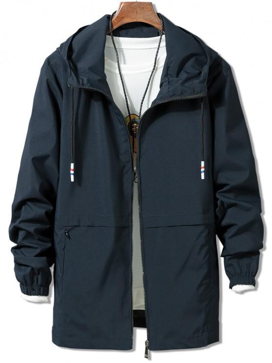 sale Solid Zipper Windbreaker Jacket - BLUE M