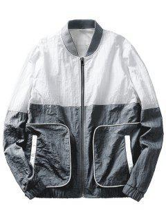 Color Block Pockets Jacket - Gray M
