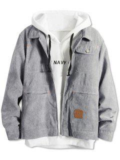Pockets Corduroy Zipper Jacket - Gray M