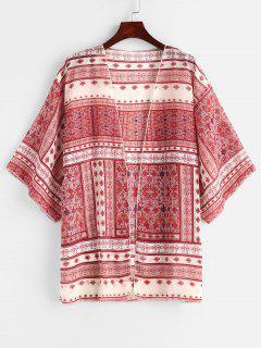 Robe Couverte Kimono Graphique à Goutte Epaule - Multi-a