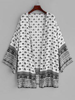 Robe Couverte Kimono Eléphant - Blanc