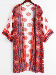 Robe Couverte Kimono œil Fleur - Rouge