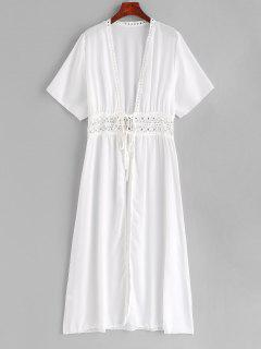 Crochet Tie Front Longling Cover Up - White S