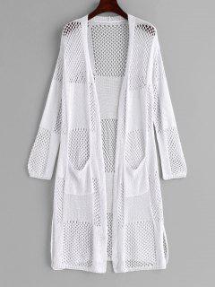 Robe Couverte Fendue Evidée Avec Poche - Blanc
