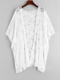Floral Lace Batwing Sleeve Cover Up - White