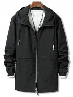 Solid Zipper Windbreaker Jacket - Black M