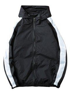 Contrast Stripe Windbreaker Zipper Jacket - Black M