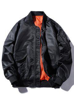 Windbreaker Pockets Bomber Jacket - Black M