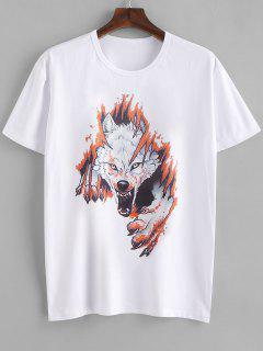 Wolf Head Print T-shirt - Milk White Xs