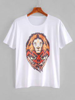 Lion Print T-shirt - Milk White S