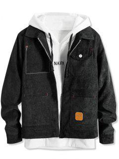 Pockets Corduroy Zipper Jacket - Black L