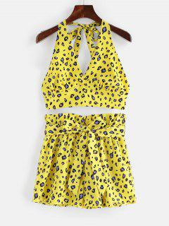 ZAFUL Leopard Print Backless Top And Shorts Set - Goldenrod S