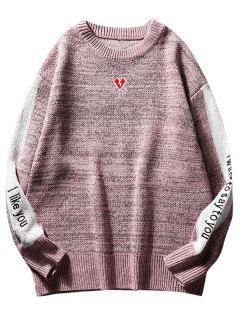 Suéter De Punto Bordado Con Contraste En El Corazón - Rosado S