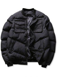 Solid Pockets Puffer Bomber Jacket - Black Xs
