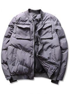 Solid Pockets Puffer Bomber Jacket - Gray M