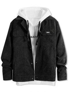 Vintage Lapel Pocket Button Up Jacket - Black L