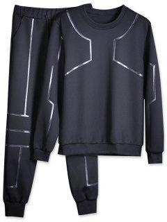 Solid Lines Sports Sweatshirt Pants Suit - Black Xs