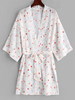 Flower Belted Kimono Cover Up - White L